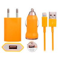 Оранжевая зарядка 3 в 1 для iPhone 5s / 5c / 5 авто зу, сетевое зу и кабель