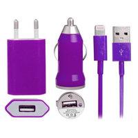 Фиолетовая зарядка 3 в 1 для iPhone 5s / 5c / 5 авто зу, сетевое зу и кабель