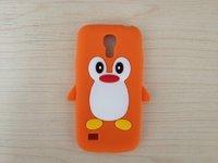 Силиконовый чехол для Samsung Galaxy S4 mini пингвин оранжевый