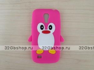 Силиконовый чехол для Samsung Galaxy S4 mini пингвин розовый