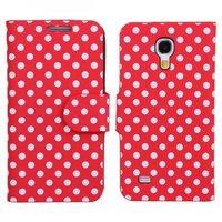 Чехол книга для Samsung Galaxy S4 Mini красный в белый горошек - Polka Dots Case Red/White