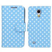 Чехол книга для Samsung Galaxy S4 Mini голубой в белый горошек - Polka Dots Case Blue/White