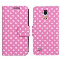 Чехол книга для Samsung Galaxy S4 Mini розовый в белый горошек - Polka Dots Case Pink/White