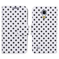 Чехол книга для Samsung Galaxy S4 Mini белый в черный горошек - Polka Dots Case White/Black