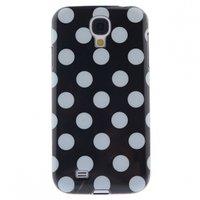 Силиконовый чехол для Samsung Galaxy S4 черный с белыми точками - Polka Dots Black&White