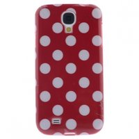Силиконовый чехол для Samsung Galaxy S4 красный с белыми точками - Polka Dots Red&White
