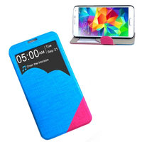 Чехол с фигурным окошком для Samsung Galaxy S5 голубой с розовым - S View Cloud Case Blue&Red