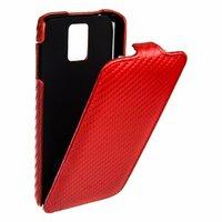 Кожаный чехол Melkco для Samsung Galaxy S5 красный карбон - Leather Case Jacka Type Carbon Red
