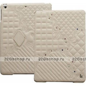 Белый стеганый чехол со стразами Jisoncase для iPad Air натуральная кожа