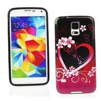 Чехол силиконовый для Samsung Galaxy S5 mini черный с рисунком розовое сердце и цветы