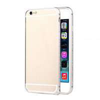 """Алюминиевый бампер со стразами для iPhone 6 (4.7"""") ультратонкий 0.7 мм серебряный"""