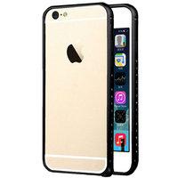 """Алюминиевый бампер со стразами для iPhone 6 (4.7"""") ультратонкий 0.7 мм черный"""