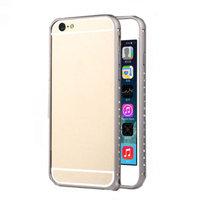 """Алюминиевый бампер со стразами для iPhone 6 (4.7"""") ультратонкий 0.7 мм серый"""