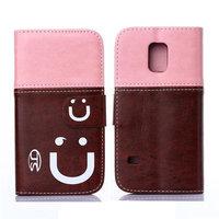 Двухцветный чехол кошелек для Samsung Galaxy S5 mini розовый и коричневый - Smiley Style Wallet Case Pink&Brown