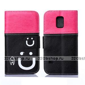 Двухцветный чехол кошелек для Samsung Galaxy S5 mini розовый и черный - Smiley Style Wallet Case Pink&Black