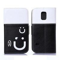 Двухцветный чехол кошелек для Samsung Galaxy S5 mini белый и черный - Smiley Style Wallet Case White&Black