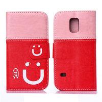 Двухцветный чехол кошелек для Samsung Galaxy S5 mini розовый и красный - Smiley Style Wallet Case Pink&Red