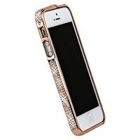 Бампер металлический для iPhone 5 / 5s / SE розовое золото со стразами