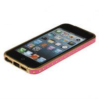 Золотой металлический бампер для iPhone 5s / SE / 5 с розовой кожаной отделкой