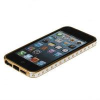 Золотой металлический бампер для iPhone 5s / SE / 5 с белой кожаной отделкой