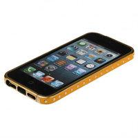 Золотой металлический бампер для iPhone 5s / SE / 5 с желтой кожаной отделкой
