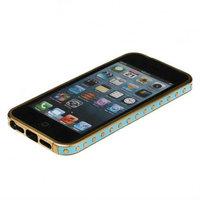 Золотой металлический бампер для iPhone 5s / SE / 5 с голубой кожаной отделкой