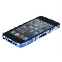 Металлический белый бампер Fashion Case для iPhone 5s / SE / 5 с узором синие цветы