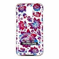 Силиконовый чехол  для Samsung Galaxy S5 i9600 белый фиолетовые цветы