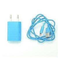 Голубая зарядка 2 в 1 для iPhone 6 / 5s / 5c / 5 сетевое зарадное устройство и кабель
