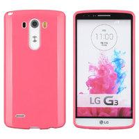 Ярко-розовый глянцевый силиконовый чехол для LG G3