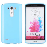 Голубой глянцевый силиконовый чехол для LG G3