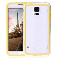 Чехол бампер для Samsung Galaxy S5 прозрачный с желтой вставкой