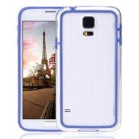 Чехол бампер для Samsung Galaxy S5 прозрачный с синей вставкой