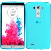 Прозрачный глянцевый силиконовый чехол для LG G3 голубой