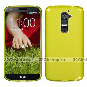 Прозрачный силиконовый чехол чехол для LG G2 mini желтый - Transparent Silicone Cover - Yellow