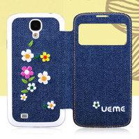 Джинсовый чехол с окошком для Samsung Galaxy S4 цветы - S View Jeans Case