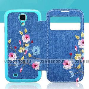 Джинсовый чехол с окошком для Samsung Galaxy S4 разноцветные цветы - S View Jeans Case