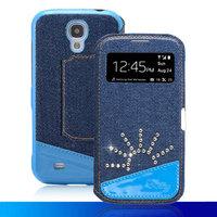 Джинсовый чехол с окошком для Samsung Galaxy S4 солнце из страз - S View Jeans Case