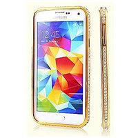 Золотой алюминевый бампер со стразами для Samsung Galaxy S5