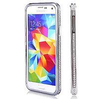 Серебряный алюминевый бампер со стразами для Samsung Galaxy S5