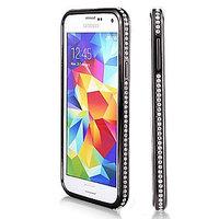 Черный алюминевый бампер со стразами для Samsung Galaxy S5