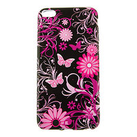 """Черный силиконовый чехол для iPhone 6 Plus / 6s Plus (5.5"""") с рисунком бабочки и цветы"""