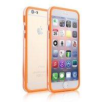 """Пластиковый бампер для iPhone 6 Plus (5.5"""") оранжевый с прозрачной вставкой"""
