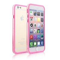 """Пластиковый бампер для iPhone 6 Plus (5.5"""") розовый с прозрачной вставкой"""