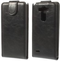 Черный флип чехол для LG Optimus G3 S / mini эко кожа - Crazy Horse Grain Eco Leather Flip Case Black