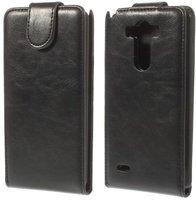 Черный флип чехол для LG Optimus G3 S / mini эко кожа - Crazy Horse Grain Eco Leather Flip Case Black