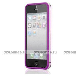Бампер для iPhone 5 / 5s / SE фиолетовый с прозрачной вставкой