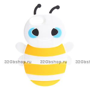 Накладка Bee 3D Silicone Case White&Black для iPhone 5 / 5s / SE пчела белая с желтым