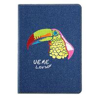Джинсовый чехол для iPad Air с вышивкой попугай - UEME Parrot Jeans Smart Case