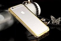 """Бампер металлический для iPhone 6 Plus / 6s Plus (5.5"""") золотой со стразами - Diamond Gold Bumper iPhone 6 plus"""